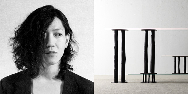 Collage con Hiroyuki Morita designer e a destra tronchi d'albero di differenti altezze