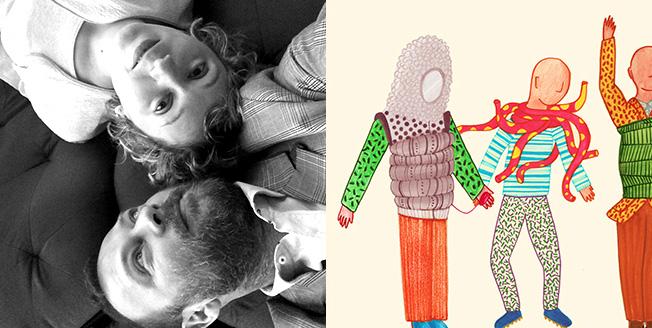 Collage due dedigner e un disegno con manichini vestiti con abiti sgargianti