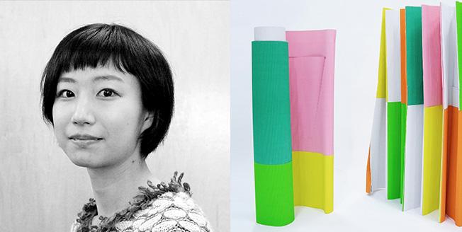 Collage con Iyo Hasegawa designer a sinistra e a destra una tenda a scacchi colorati