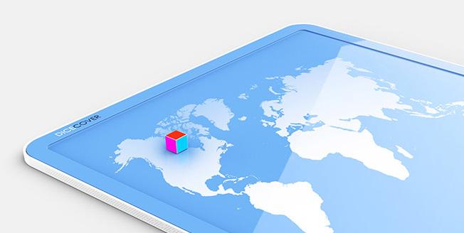 Un particolare del progetto Dicecover un cursore 3D sovrapposto alla cartina degli USA