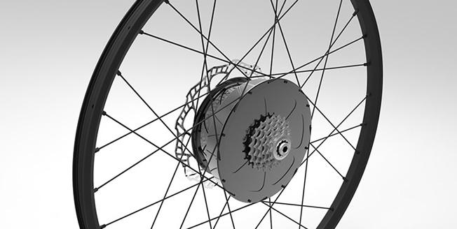 Dettaglio di una ruota di bicicletta elettrica