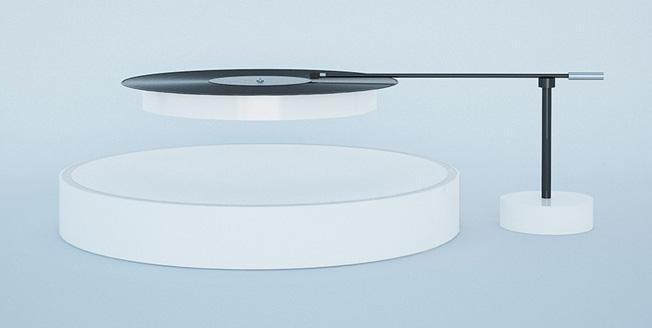 Innovativo giradischi formato da due strutture sferiche tra loro separate