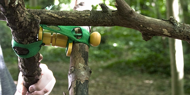 Sostegni e agganci incastrati tra i rami di un albero