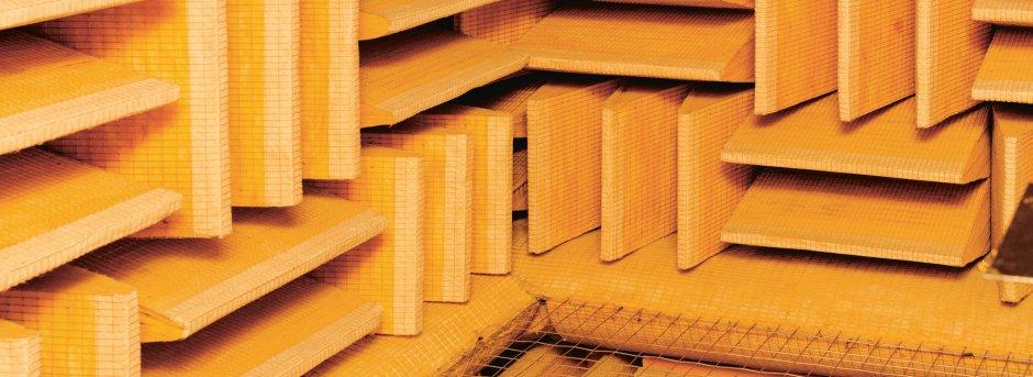 Dettaglio della struttura insonorizzante di un laboratorio di musica