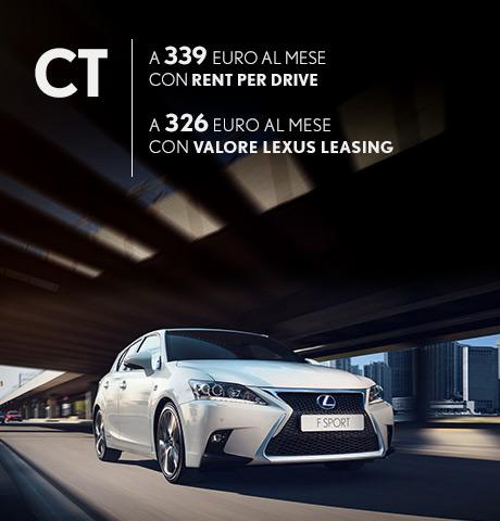 CT Hybrid F Sport in promozione con rent per drive e valore lexus leasing