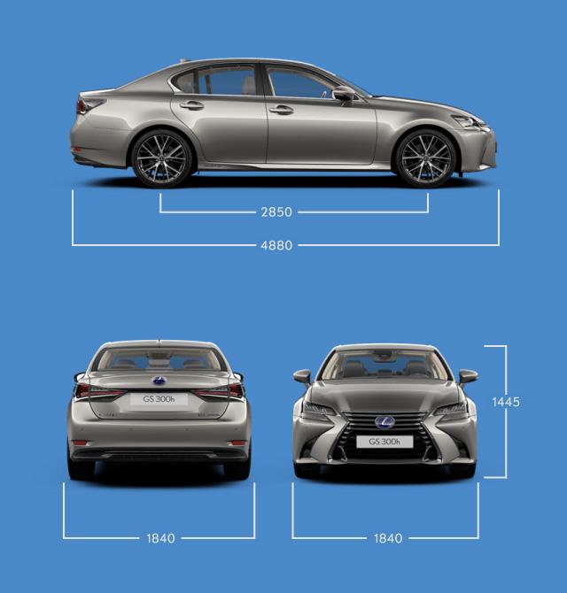 Vista laterale frontale e posteriore di GS Hybrid 300h indicazione delle misure principali