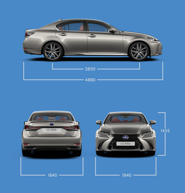 Vista laterale frontale e posteriore di GS Hybrid 450h indicazione delle misure principali