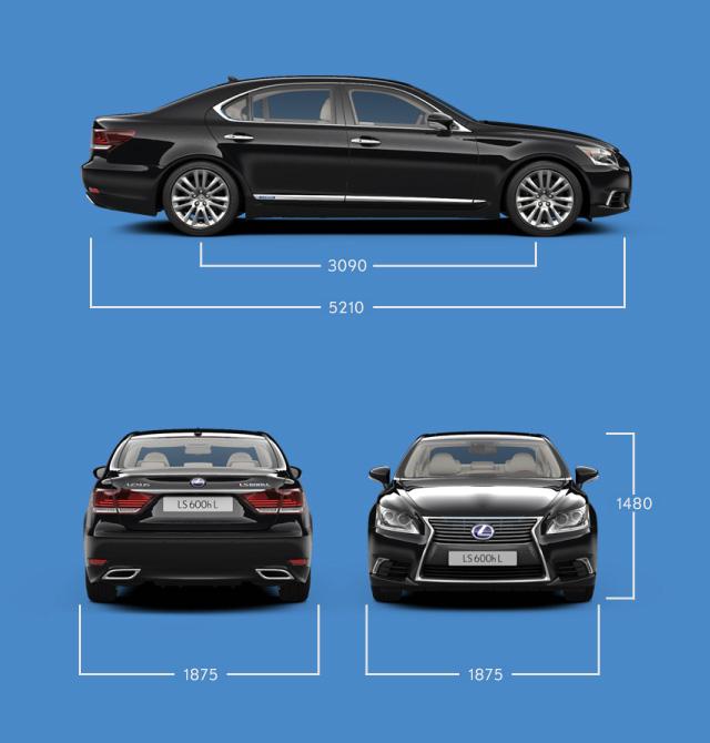 Vista laterale frontale e posteriore di LS Hybrid Luxury e indicazione delle misure principali