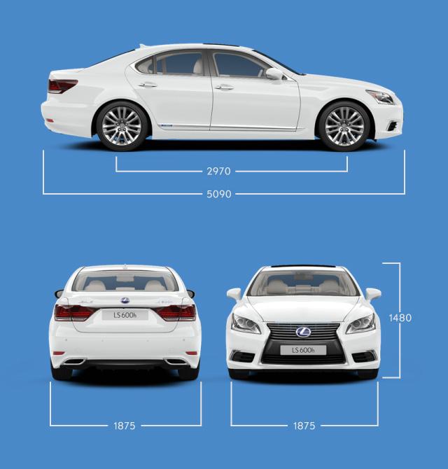 Vista laterale frontale e posteriore di LS Hybrid indicazione delle misure principali