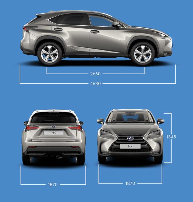 Vista laterale frontale e posteriore di NX Hybrid e indicazione delle misure principali