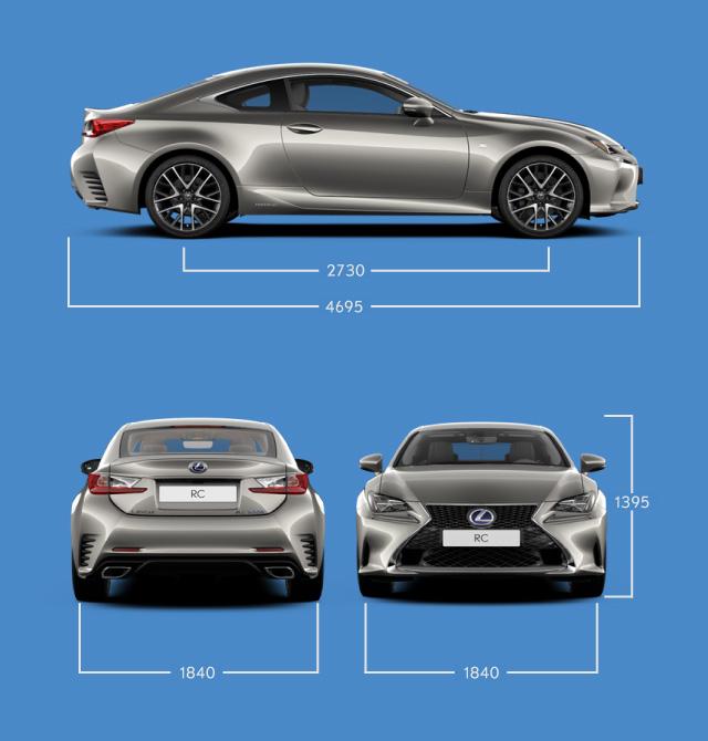 Vista laterale frontale e posteriore di RC Hybrid e indicazione delle misure principali
