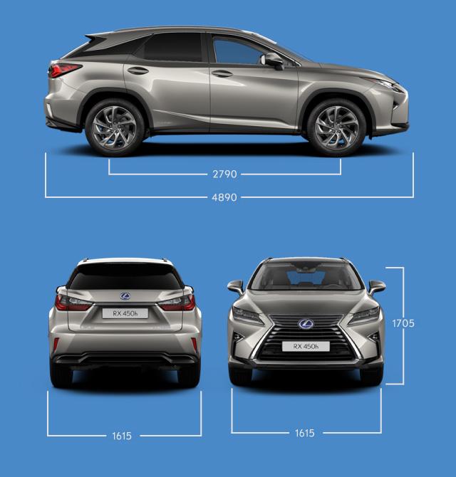 Vista laterale frontale e posteriore di RX Hybrid e indicazione delle misure principali