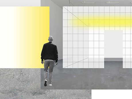 Uomo di spalle che cammina verso un disegno geometrico bianco con sfumature gialle