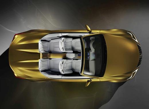 Vista dall alto del concept Lexus LF C2 colore giallo ocra