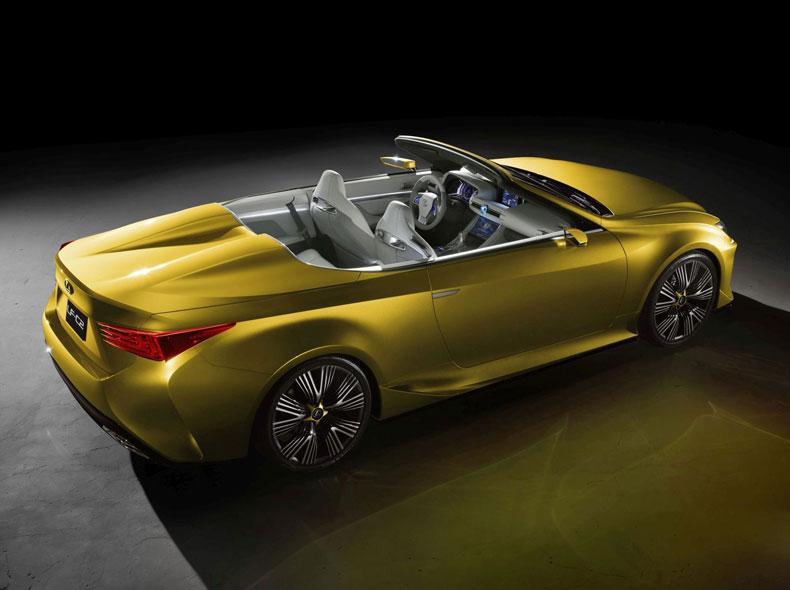 Vista diagonale posteriore lato destro del concept Lexus LF C2 giallo ocra