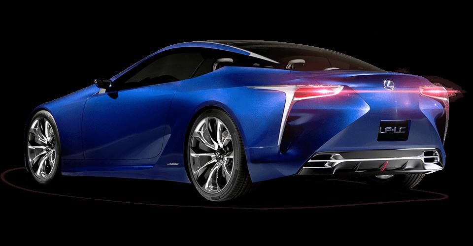 Vista diagonale posteriore della concept coupé LF LC ibrida sportiva colore blu