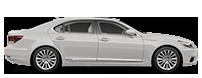 Vista laterale della berlina LS Hybrid bianca