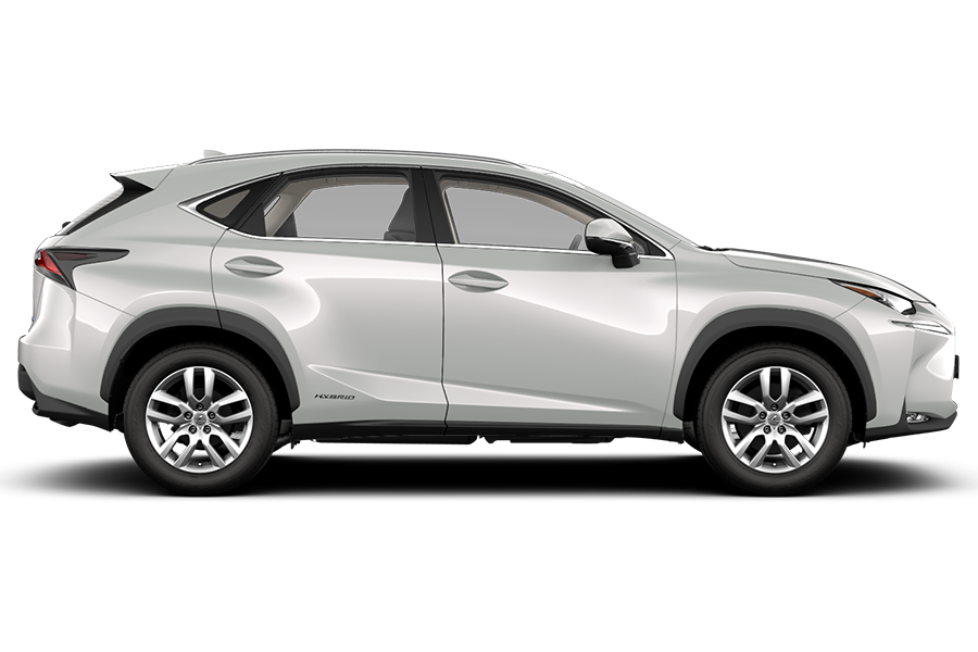 Fiancata di Lexus NX Hybrid Icon bianco con interni in pelle Tahara colore avorio e cerchi in lega da 18 pollici