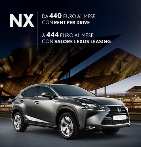 NX Hybrid in promozione con rent per drive e con valore lexus leasing