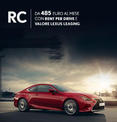 RC Hybrid rossa in offerta con rent per drive e valore lexus leasing