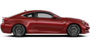 Vista laterale della coupé RC Hybrid rosso fuoco
