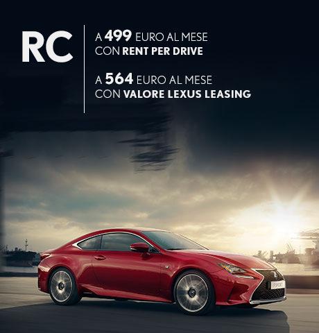 RC Hybrid in promozione con rent per drive e con valore lexus leasing
