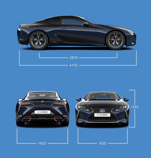Coupé di lusso lunghezza e larghezza Lexus LC Hybrid