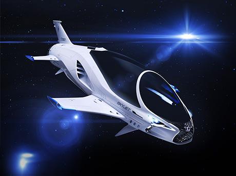 Vista laterale del Lexus Skyjet la navicella creata per il film Valerian la città dei mille pianeti
