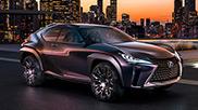 Vista frontale diagonale di UX il nuovo concept di SUV Lexus Sullo sfondo lo skyline di una città