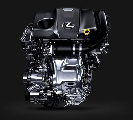 Vista frontale di un motore Lexus