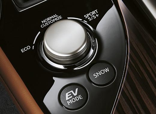 Dettaglio sul selettore della modalità di guida della GS Hybrid 300h