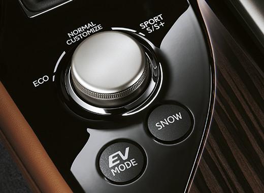 Dettaglio sul selettore della modalità di guida della GS Hybrid 450h