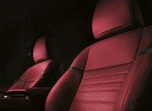 Rivestimenti in pelle dark rose della GS Hybrid 450h F SPORT