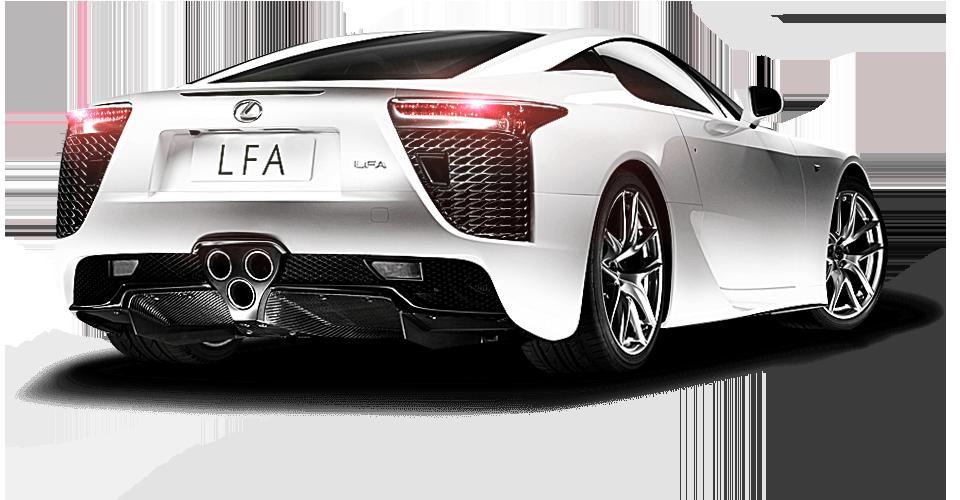 Vista diagonale posteriore della supercar LFA colore bianco