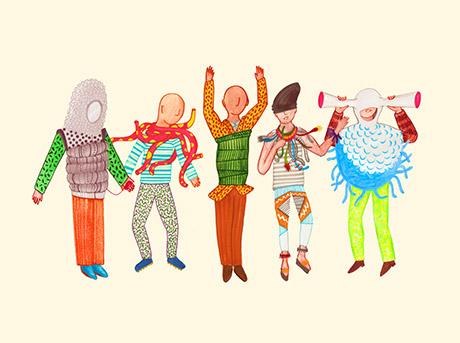 Bozzetto a colori di cinque figurini con prototipi di abiti della collezione Sense Wear