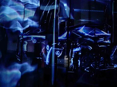 Proiezioni con effetti sfumati dello spazio Lexus Yet alla Milano Design Week 2017