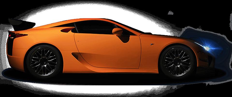 Vista laterale della supercar LFA colore arancione con sfondo scuro