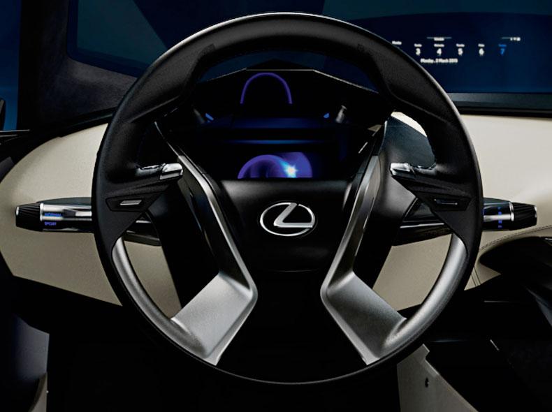 Dettaglio volante della concept car Lexus LF SA