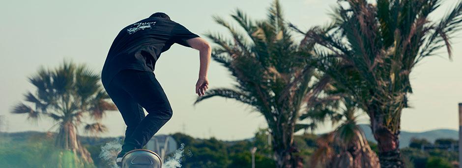 Vista posteriore di un ragazzo su hoverboard e sfondo palme