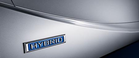 Logo Hybrid blu su sfondo argento