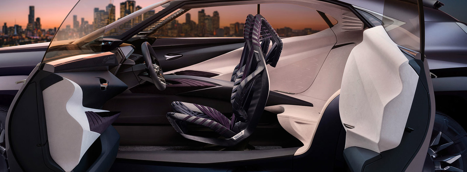 Vista laterale degli interni della nuova Concept Car Lexus UX