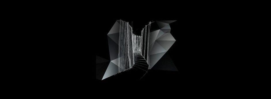 Tour virtuale figura geometrica colore grigio con sfondo nero