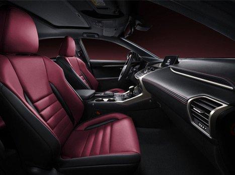 Vista laterale dei sedili anteriori in pelle dark rose di una Lexus F Sport