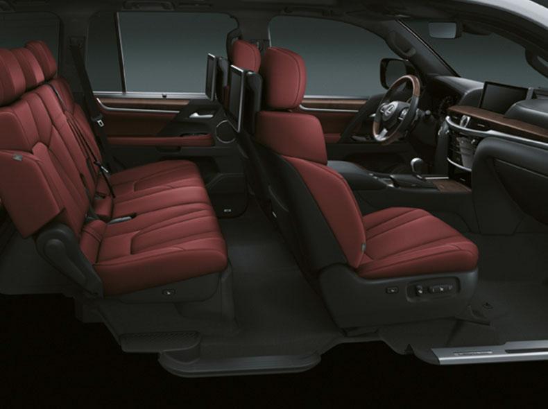 Салон Lexus LX570 из перфорированной кожи Semi aniline гранатового цвета