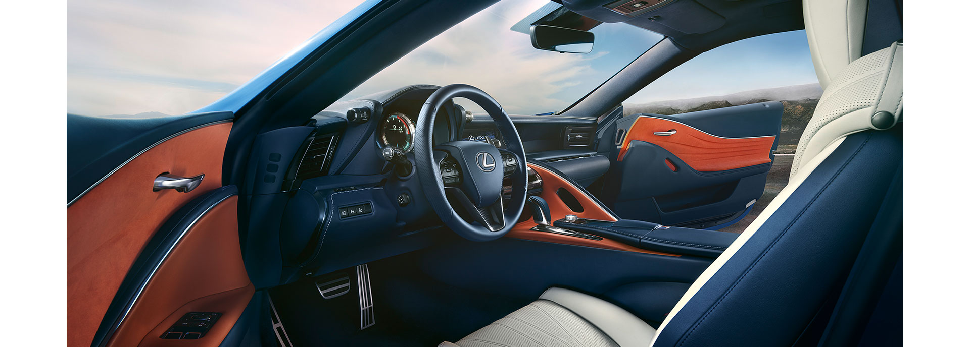 Het interieur van een Lexus LC 500h