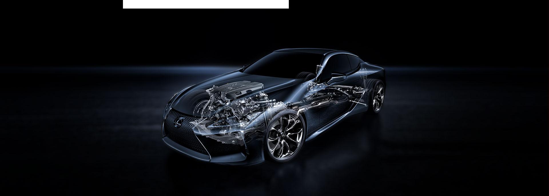 Technische tekening van een Lexus LC 500h