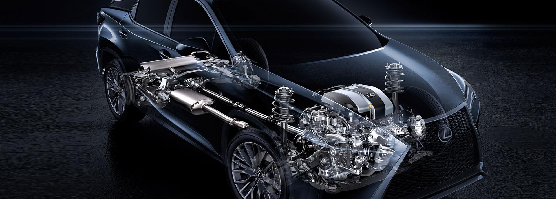 Onderstel en motor van een Lexus