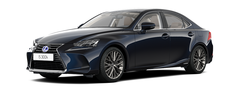 Een stilstaande donkerblauwe Lexus IS 300h