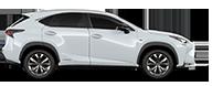 De zijkant van een witte Lexus NX 300h