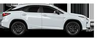De zijkant van een witte Lexus RX 450h